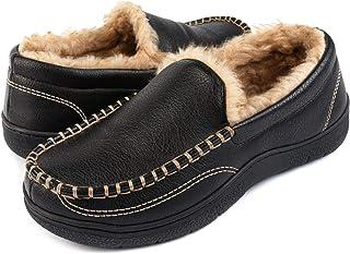 ULTRAIDEAS Pantuflas acogedoras de espuma viscoelástica para hombre con forro de piel difusa, zapatos cerrados para casa c...