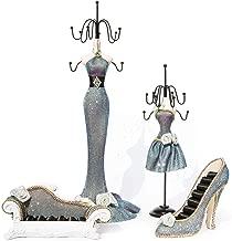 Coraltea Jewelry Holder Hanging Necklace Earring Bracelet Rings Orgaziner Shoe Dress Display Stand Set (Multi)