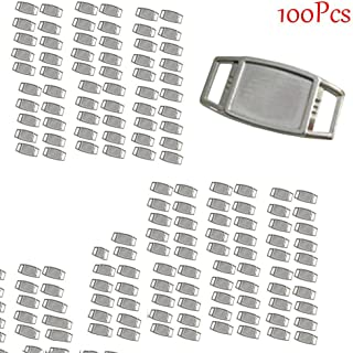 D-wish@100 Blank Rectangle Shoelace Charms with Epoxy Stickers for Use with Paracord or Other Projects (100pcs)