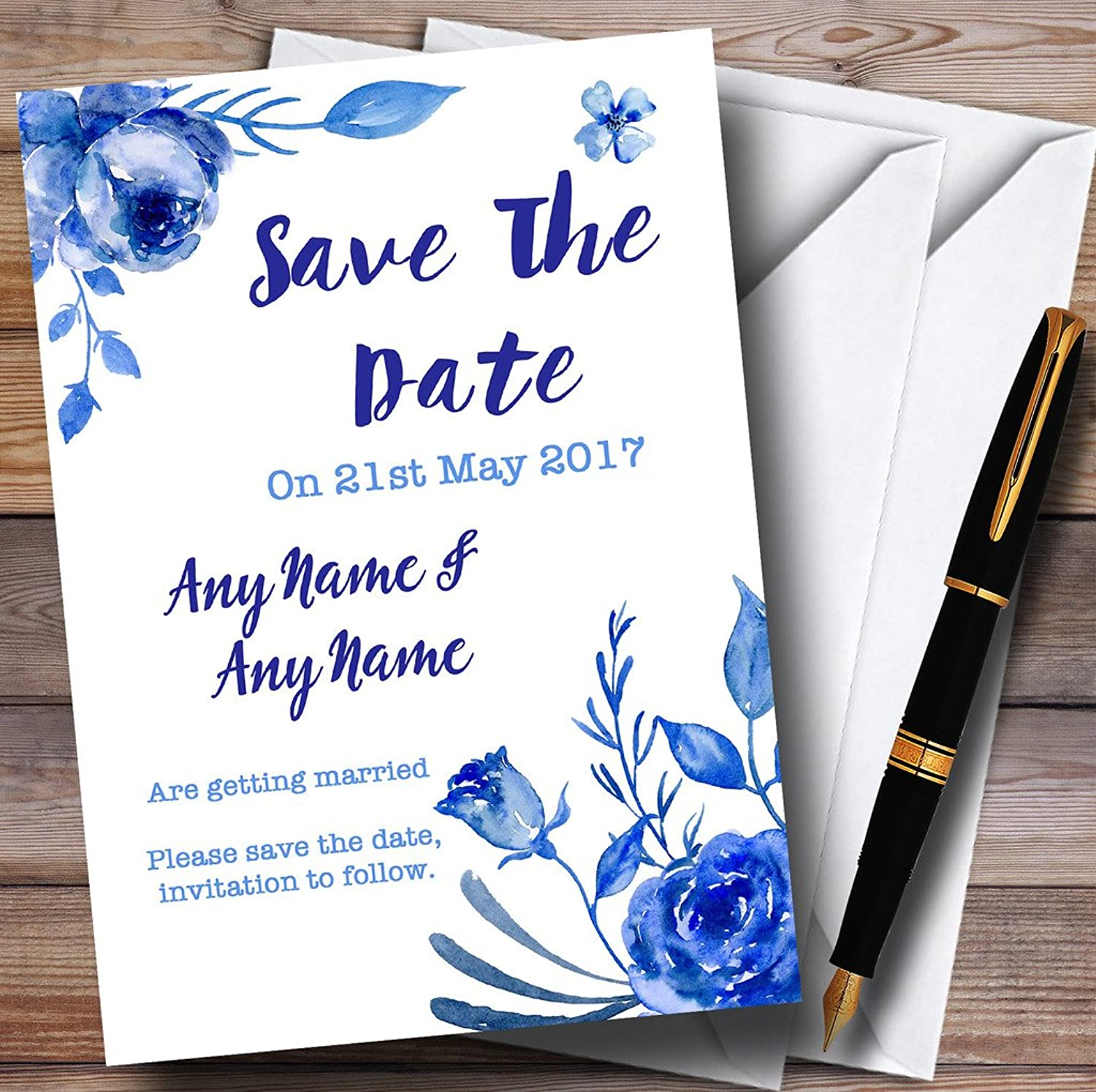 bluee & White Watercolour Floral Personalised Wedding Stationery Save The Date Cards