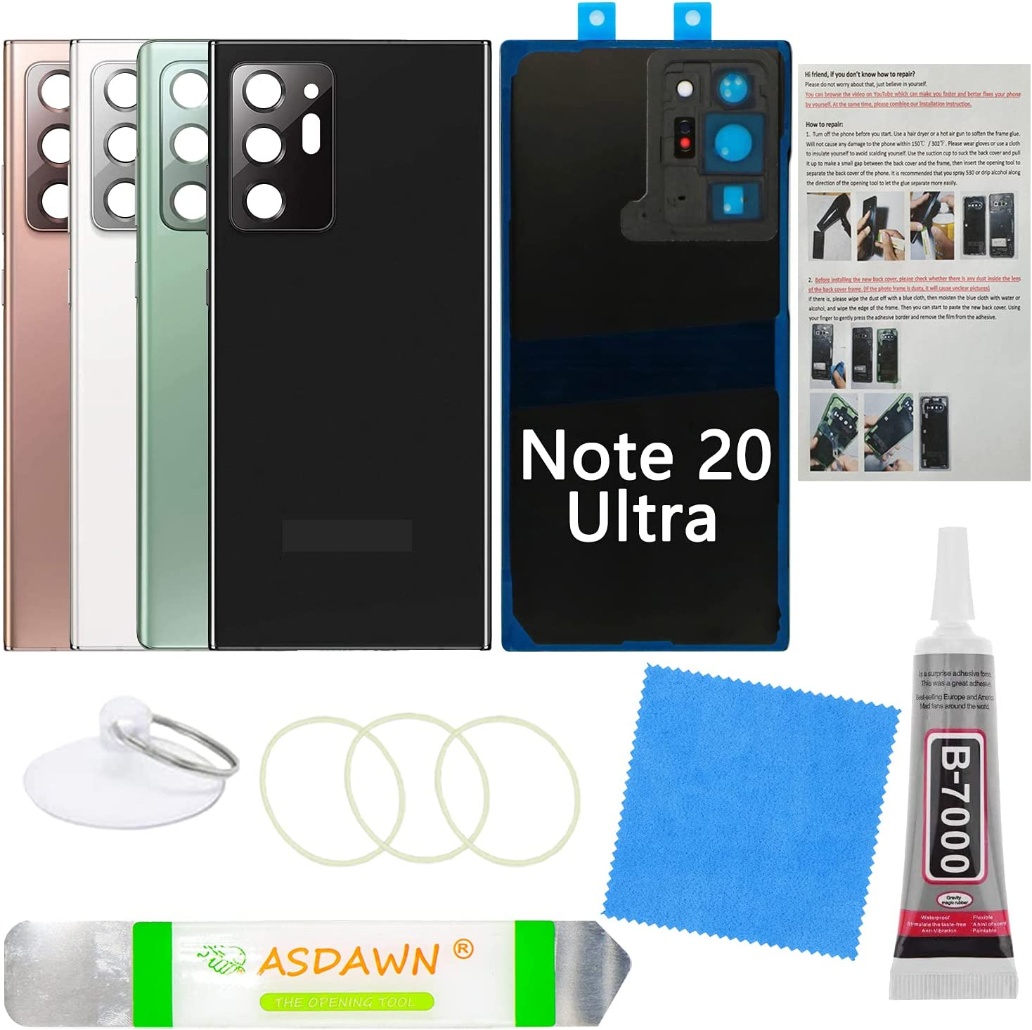 Galaxy Note 20 Ultra Back Cover Glass Replacement w/Pre-Installed Camera Lens+All The Adhesive+Installation Manual+Repair Tool Kit for Samsung Galaxy Note 20 Ultra SM-N985 All Carriers (Mystic Black)