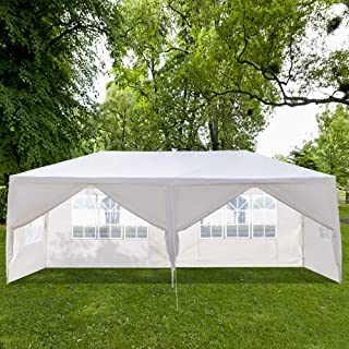 SSLine White 10x20 ft Party Wedding Tent Outdoor Waterproof Gazebo Canopy with Windows and Removable Sidewalls