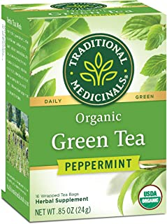 Traditional Medicinals Organic Green Tea Peppermint Tea, Promotes Healthy Digestion, 96 Tea Bags Total (Pack of 6)