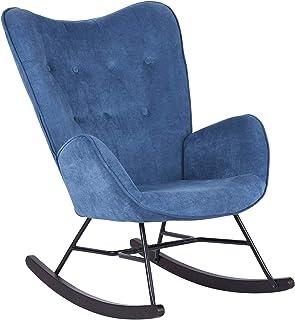 Mueble Cosy - Sillón de balancín, Silla de Ocio y Reposo, Tejido Azul para el salón, Comedor, Patas de Madera, Metal, Color Azul, Tejido 68 x 87 x 98 cm