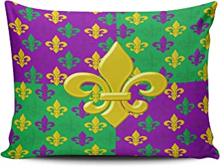MUKPU Mardi Gras Green Gold and Purple Fleur Home Decor Sofa Pillowcase 12X16 Inch Boudoir Throw Pillow Case Hidden Zipper Single-Sided Printed