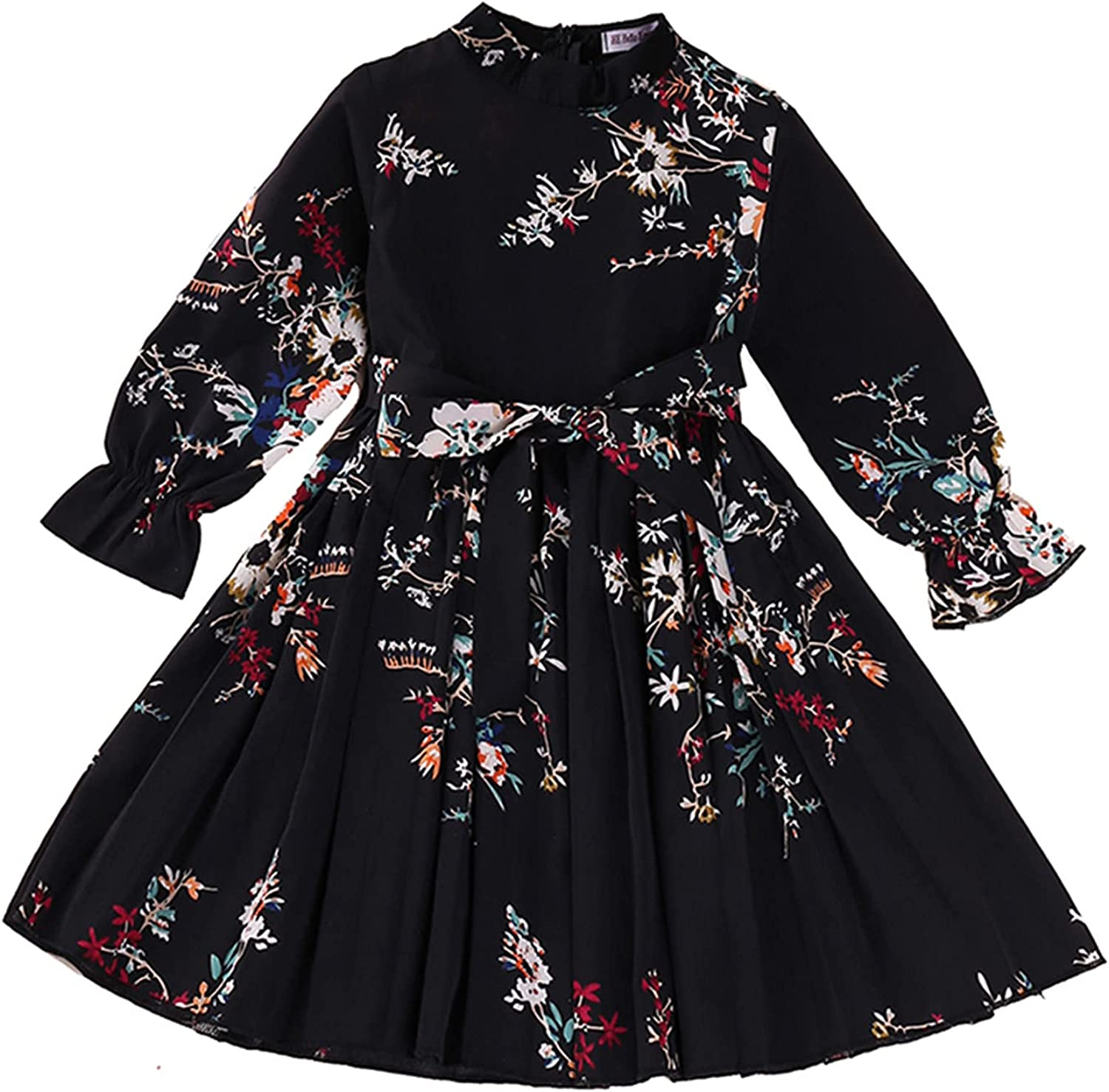 ZXCC Spring and Autumn Girls Cotton Print Dress Casual A-Line Long-Sleeved Round Neck Floral Midi Cute Dress Skirt