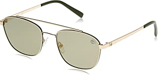 Timberland 19307221 Oval Sunglasses Gold/Green Polarized for Men (55)