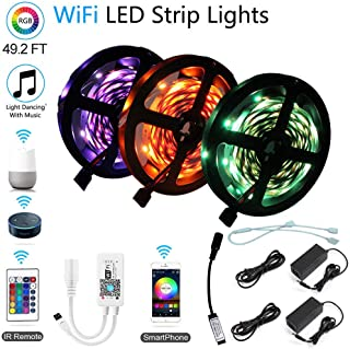 15M 49ft LED Strip Light Kit, WiFi Wireless Smart Phone Sync Music Controller, SMD 5050 RGB 450 LEDs Rope Chirstmas Lights, Working Android iOS System, Alexa, Google Assistant (3 Pack No Waterproof)