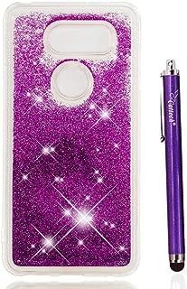LG V30 Glitter Case, LG V30 Case, Cattech Liquid Bling Sparkle Shiny Moving Quicksand - Slim Clear TPU Bumper Protective Cover for LG V30 / LG V30 Plus/LG V30S ThinQ + Stylus (Purple)