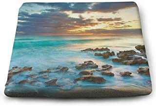 Comfortable Seat Cushion Print Highland Dunes 'Ocean Sunrise - Memory Foam Filled for Outdoor Patio Furniture Garden Home Office