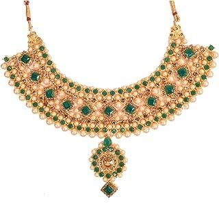 Traditional Kundan Green Wedding Jewellery Necklace Set With Earrings, Maangtikka For Women, Girl