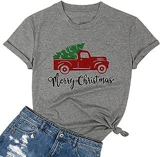 TAOHONG Merry Christmas Shirt Women Christmas Tree Red Truck Graphic Short Sleeve Holiday Tee Top