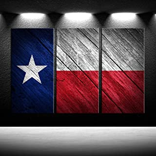 iKNOW FOTO Texas Flag Canvas Wall Art Decor 3 Piece Set Large Decorative Multi Panel Split Prints Rustic Wooden Flag Wall Pictures Modern Painting Framed Posters and Prints Giclee Print Gallery Wrap