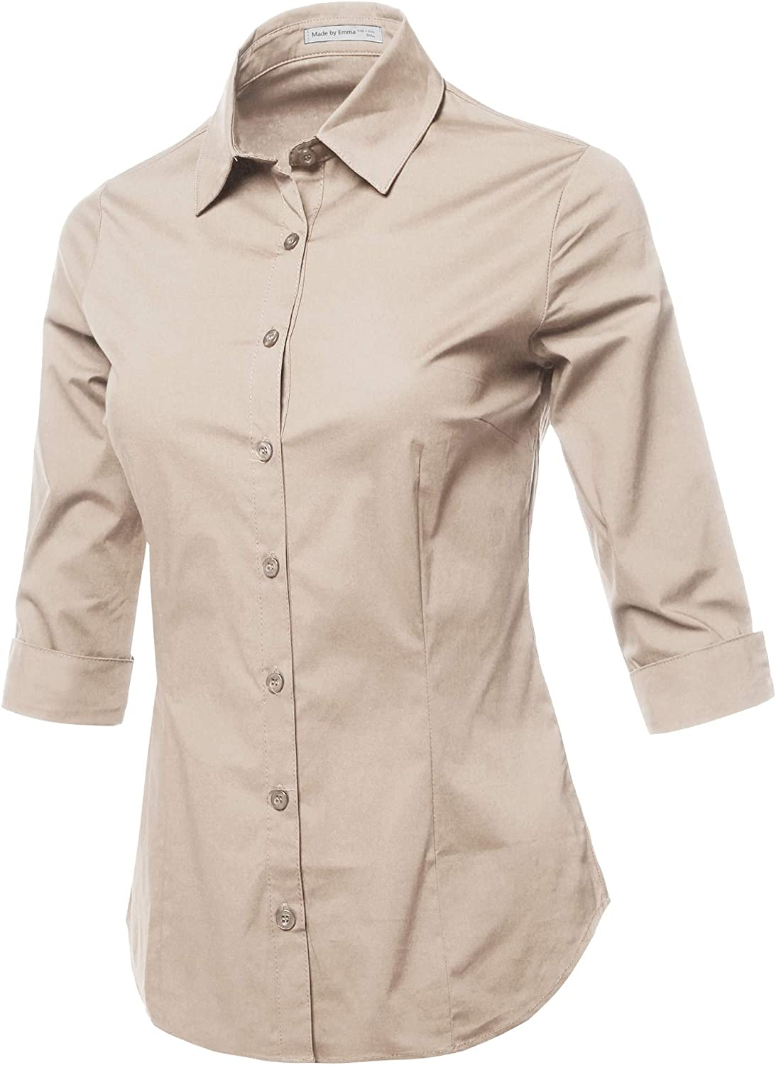 Made by Emma Women's Casual Work Basic Solid Stretch Popline 3/4 Sleeve Button Down Shirt Blouse