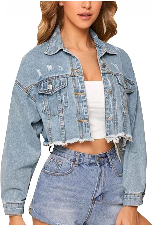 Misaky Women's Classic Denim Jean Jacket Plus Size Denim Oversize Chain Jacket Pocket Coat