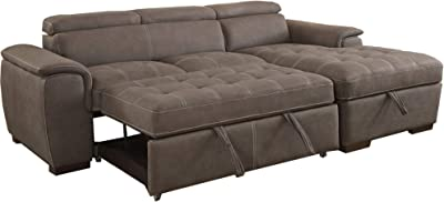 Benjara 2 Piece Fabric Upholstered Convertible Sectional Sofa, Brown