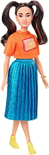 Barbie Fashionistas Doll with Long Brunette Pigtails Wearing Orange T-Shirt, Shimmery Blue Skirt, Yellow Kicks & Bracelet, Toy for Kids 3 to 8 Years Old