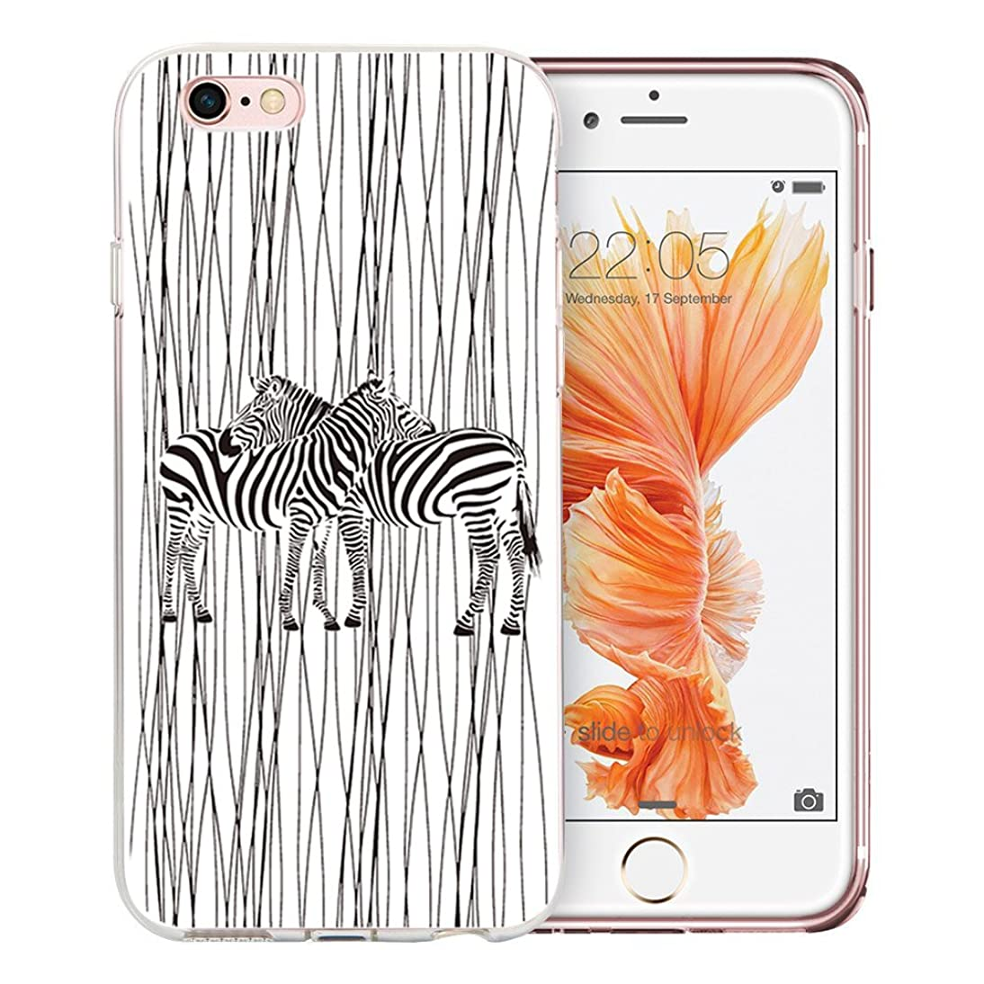 iPhone 6 Case, iPhone 6S Case, Doramifer Illustration Series Protective Case [Anti-Slip] [Good Grip] with Aesthetic 3D Print Soft Back Cover for 4.7 inch iPhone 6/6S (Zebra) qfhi302737279746