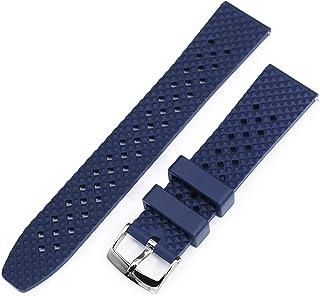 20mm Rhombus Blue FKM Quick Release Rubber Watch Strap, Waterproof and dustproof