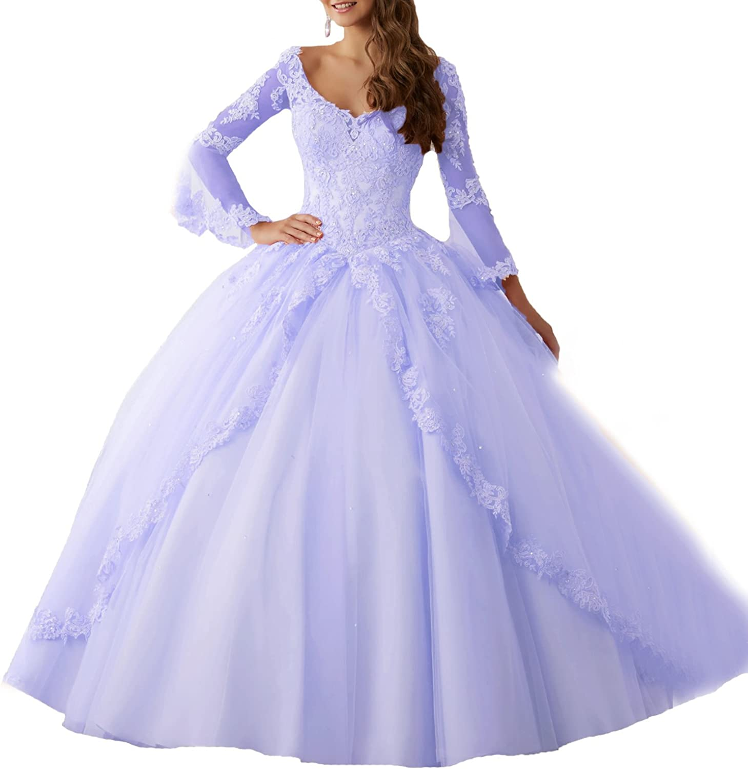 Beauty Bridal GirlsLong Sleeve Lace Quinceanera Dresses Formal Prom Dresses Ball