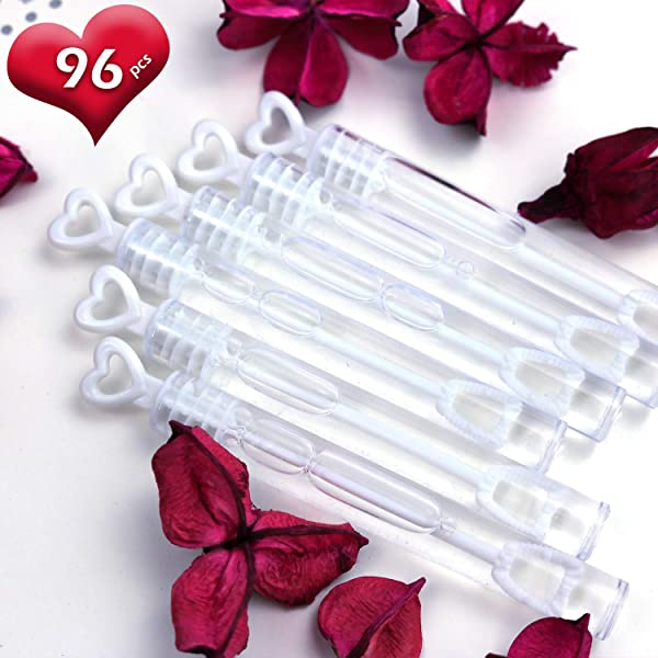GiftExpress 96 Pcs 4 2 White Heart Bubble Wands Party Favors For Weddings Supplies Valentine S Day Party And Anniversaries 96 Pack