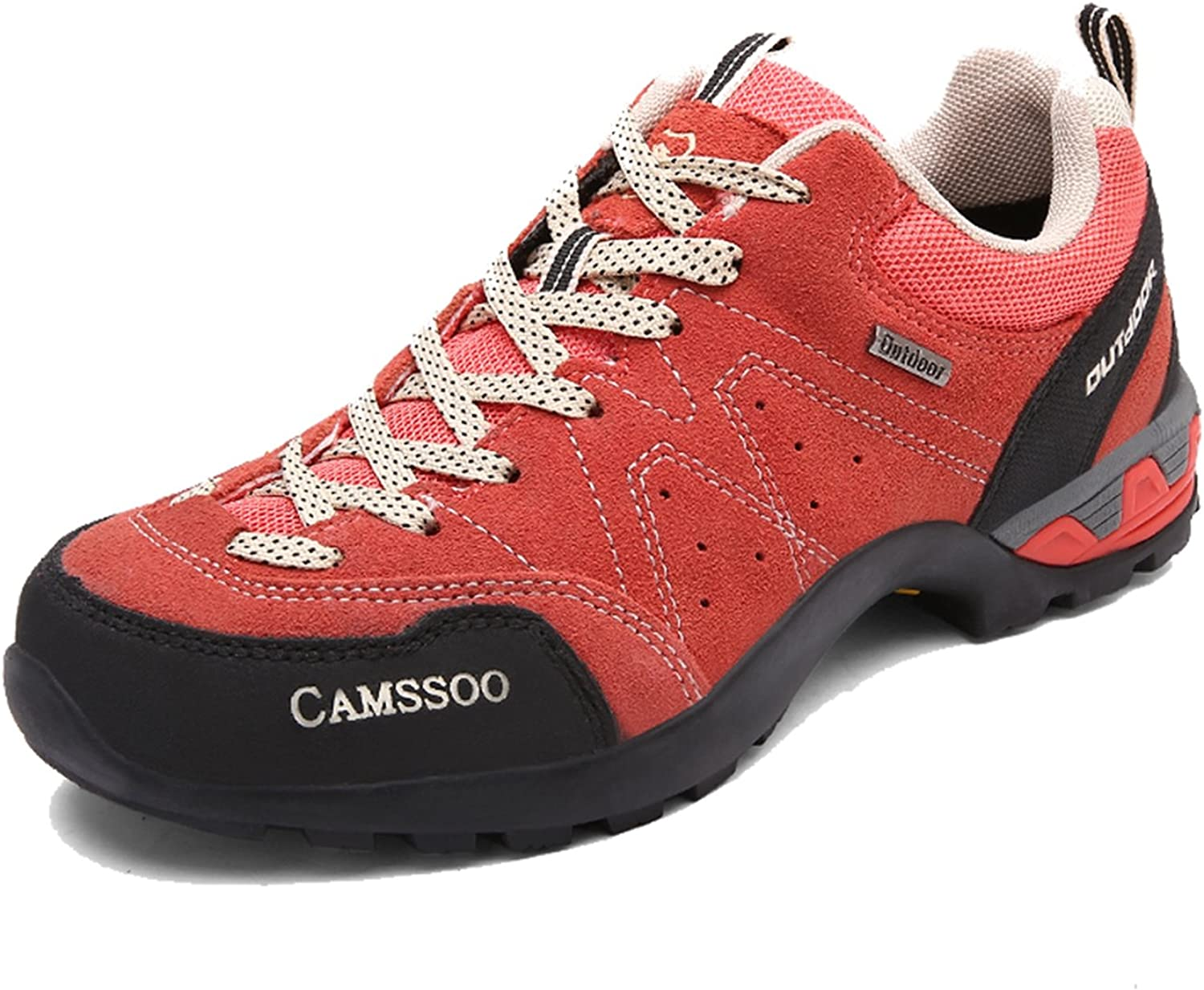 CAMSSOO Womens Outdoors Suede Leather Mesh Cross-Country Cushioning Hiking Running shoes