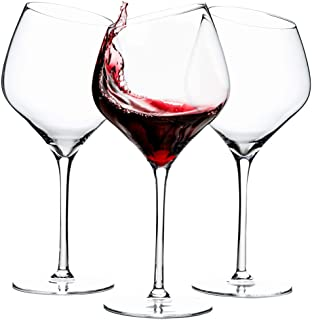 Red wine glasses - lead free Crystal glass set of three with a long stem and large, unique angled bowl, 19oz for Pinot Noir, Cabernet, Burgundy and Bordeaux