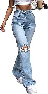 Abtel Dames mode Bell Bottom broek hoge taille gescheurde Regular Fit Jeans Flare Jeans broek