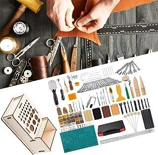 XDXDO Outils D'artisanat en Cuir Kit D'outils De Couture en Cuir avec Boutons De Rivet Et Support De Rangement DIY Ensembl...
