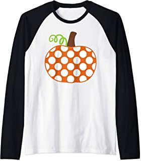Polka Dot Pumpkin Patch Kids Adults Fall Halloween Raglan Baseball Tee