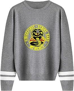 JDSWAN Unisexo Cobra Kai Jersey de Punto Redondo Cuello Cobra Impresión de Cartas Suéter de Manga Larga Suéter de Punto Su...