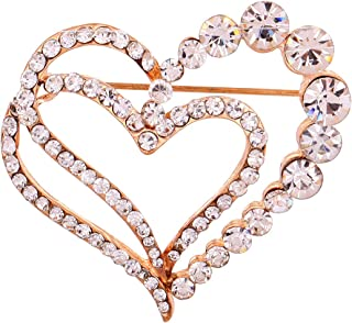 Jewelry Rose Gold Plated Glaring Crystal Pretty Loving Heart Brooches and Pins Vintage for Women