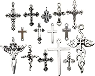 iloveDIYbeads 100g (About 42pcs) Craft Supplies Antique Silver Jesus Christ Cross Charms Pendants for Crafting, Jewelry Findings Making Accessory for DIY Necklace Bracelet M266