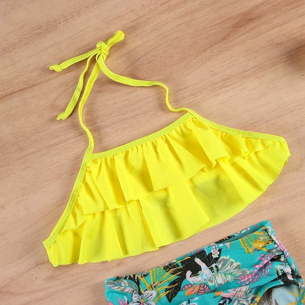 Girl Swimsuit 2Pcs Bikini Swimwear Outfits Set Ruffle Halter Neck Floral Bottom Bathing Suit