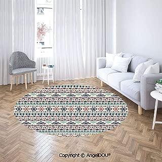 AngelDOU Round Area Rug Stain Fade Resistant Floor Mat Aztec Antique Design Ethnic Earth Colors Simple Geometric Artwork Floor Mat for Living Room Bedroom