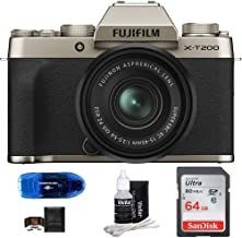 $799 » Fujifilm X-T200 Mirrorless Digital Camera with 15-45mm Lens Bundle: Includes, SanDisk 64GB SDXC Memory Card, Card Reader, Memory Card Wallet and Lens Cleaning Kit (5 Items) (Champagne Gold)