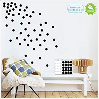 Light up world Black Wall Decals Polka Dots Vinyl Stickers Circle Art Wall Decor Self Adhesive Dots Removable Hanging Decorations for Nursery Room or Bedroom (200 Decals Circles)