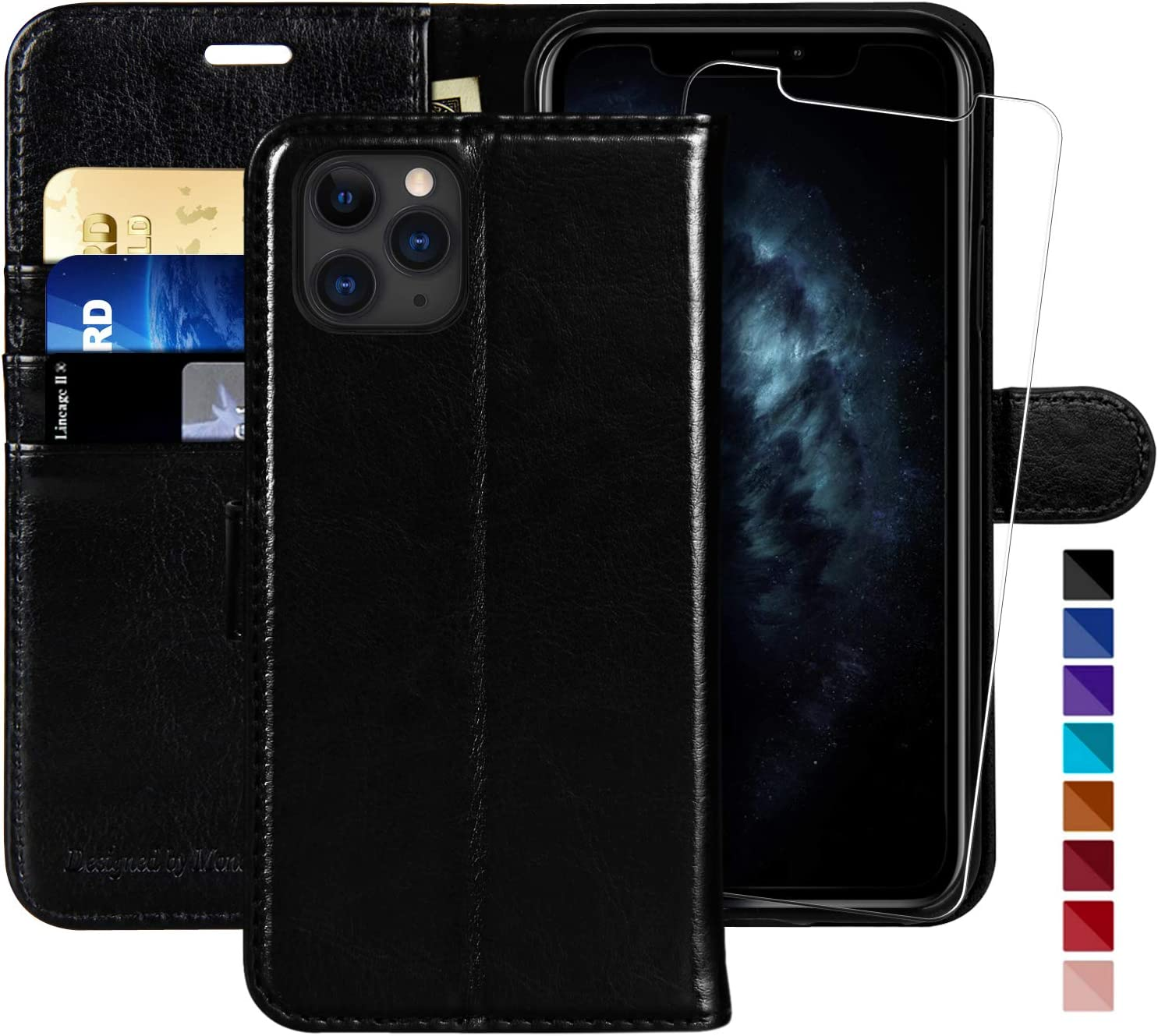iPhone 11 Pro Wallet Case,5.8 inch,MONASAY [Glass Screen Protector Included] [RFID Blocking] Flip Folio Leather Cell Phone Cover with Credit Card Holder for iPhone 11 Pro
