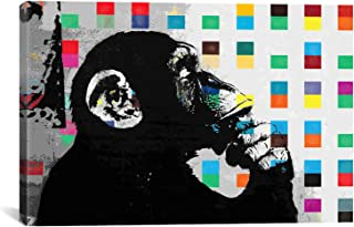 iCanvasART 2012E The Thinker Monkey Dots Close Up Canvas Print by Banksy, 12 by 8-Inch, 0.75-Inch Deep