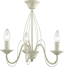 Lighting Collection 3 Light Semi-Flush Curved Arm Traditional Ceiling Fitting Brushed Cream/Gold