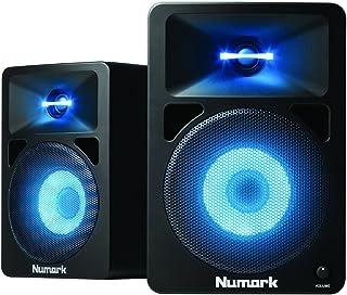 Numark N-Wave 580L - Monitores de DJ de Sobremesa Compactos de Rango Completo y 40 W con Iluminación LED RGB en Tweeter y Woofer, 3 Ajustes de Color, Control de Volumen Dedicado y Entradas RCA