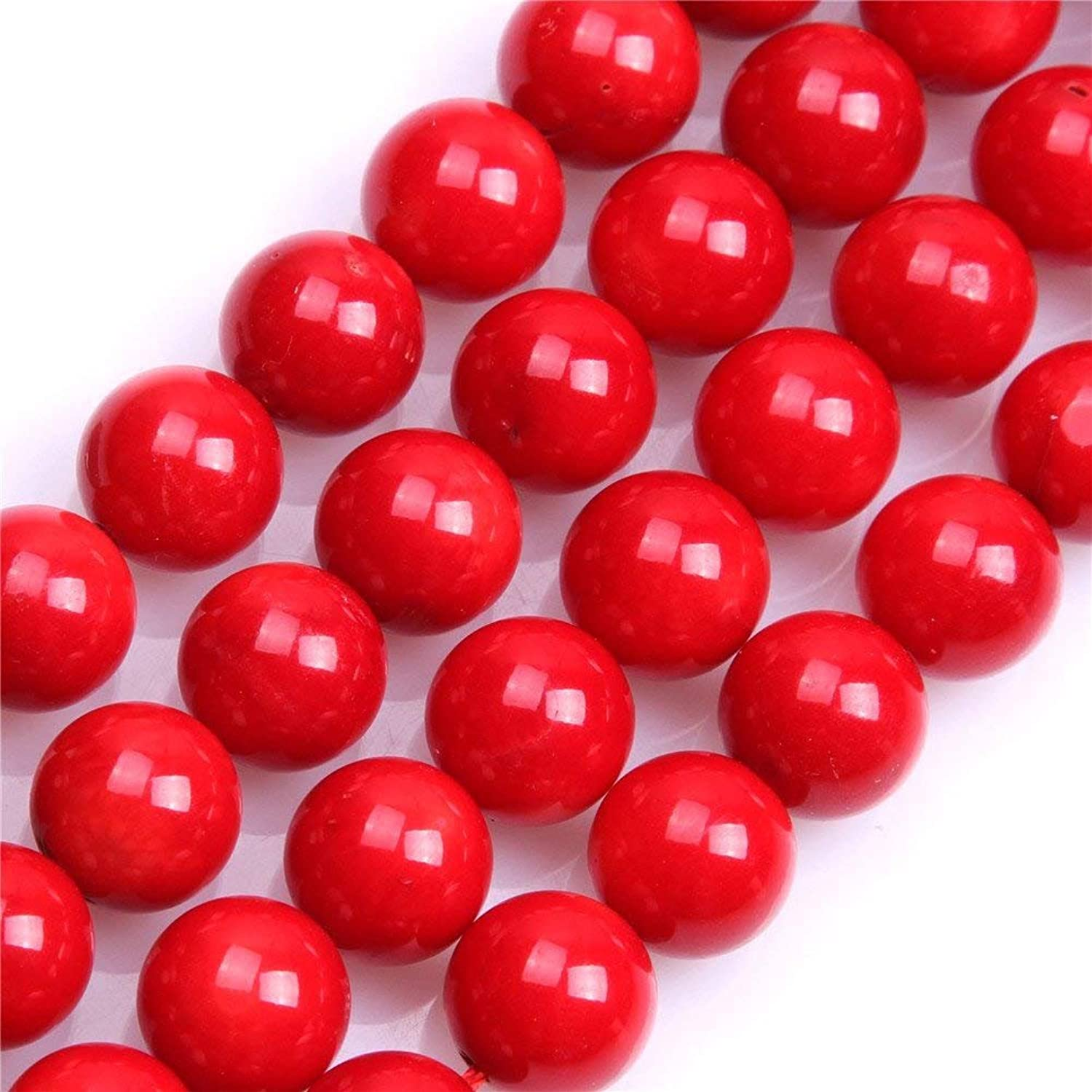 8mm Red Coral Beads Round Loose Gemstone Beads for Jewelry Making Strand 15 Inch (4750pcs)