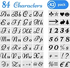 42 Pieces Letter Stencils for Painting on Wood, Reusable Plastic Art Craft Stencils, Alphabet Stencils with Calligraphy Font Upper and Lowercase Letters Stencils