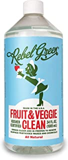 Rebel Green Fruit and Veggie Wash, Natural Fruit and Vegetable Produce Cleaner, 34 Ounce Refill
