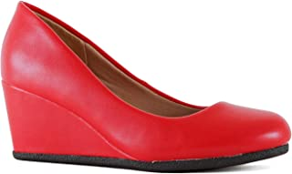 Guilty Shoes Guilty Heart | Classic Office Comfortable Wedge | Soft Mid Low Heel Round Toe Walking Dress Pumps