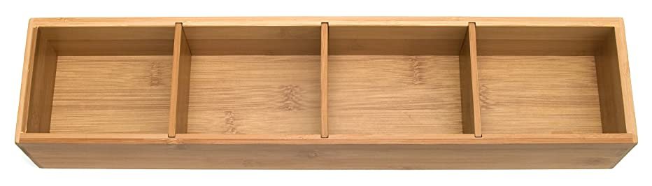 Lipper International 8884 Bamboo Wood 4-Part Drawer Organizer with Removable Dividers, 17-1/2