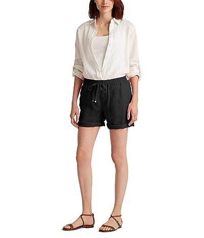 LAUREN Ralph Lauren Petite Linen Drawcord Shorts (Polo Black) Women