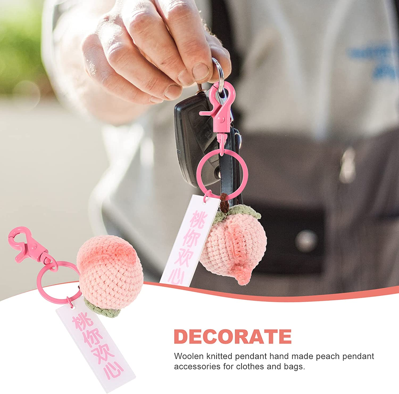 Amosfun Peach Keychain Key Chain Cartoon Fruit Keyring Bag Hanging Pendant Purse Charm Ornament for Women Girl Birthday Gift (Pink)
