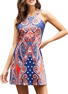 Happy Sailed Women Halter Neck Boho Print Sleeveless Casual Mini Beachwear Dress Sundress