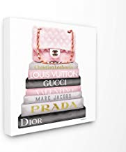 The Stupell Home Décor Collection Watercolor High Fashion Bookstack Padded Pink Bag Stretched Canvas Wall Art, 17 x 1.5 x 17